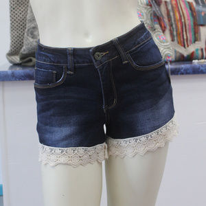 L&B Denim Shorts with Crochet Trim - Dark Wash